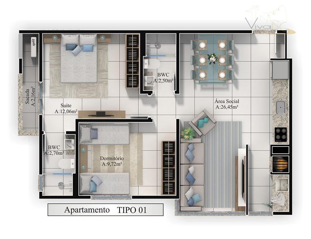vende-sebairro tabuleirocamboriú scapartamento:edifício com alto padrão de acabamento! prédio novo.2 dormitórios (sendo 1 suíte), lavabo.sacada com...