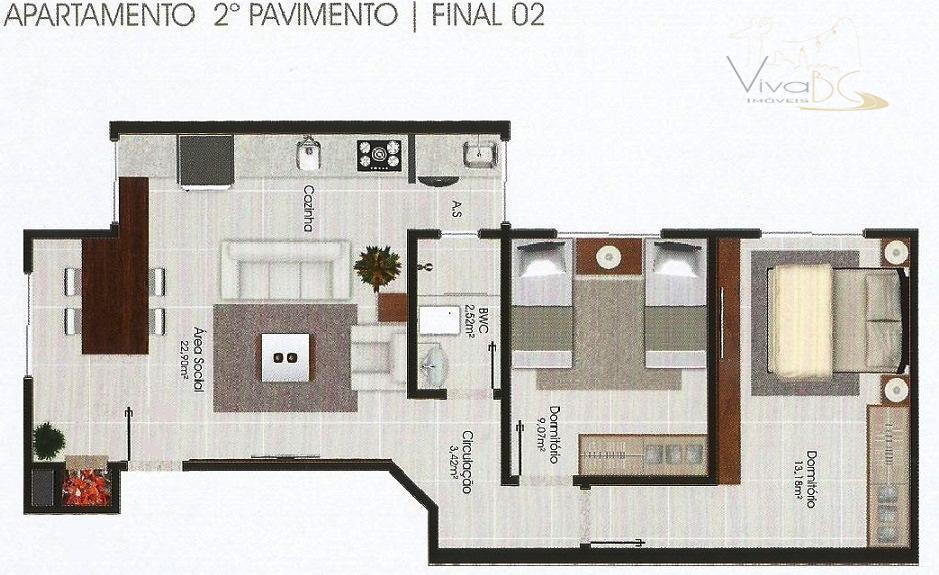 vende-sebairro santa regina camboriú sc.apartamento:possui 2 dormitórios, sala com churrasqueira, cozinha, área de serviço, banheiro e...