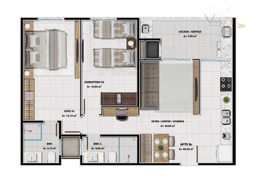 vende-se - lançamento.praia bravaitajaí sc13 pavimentos . 7 plantas de apartamentos . 39 m² a 76...