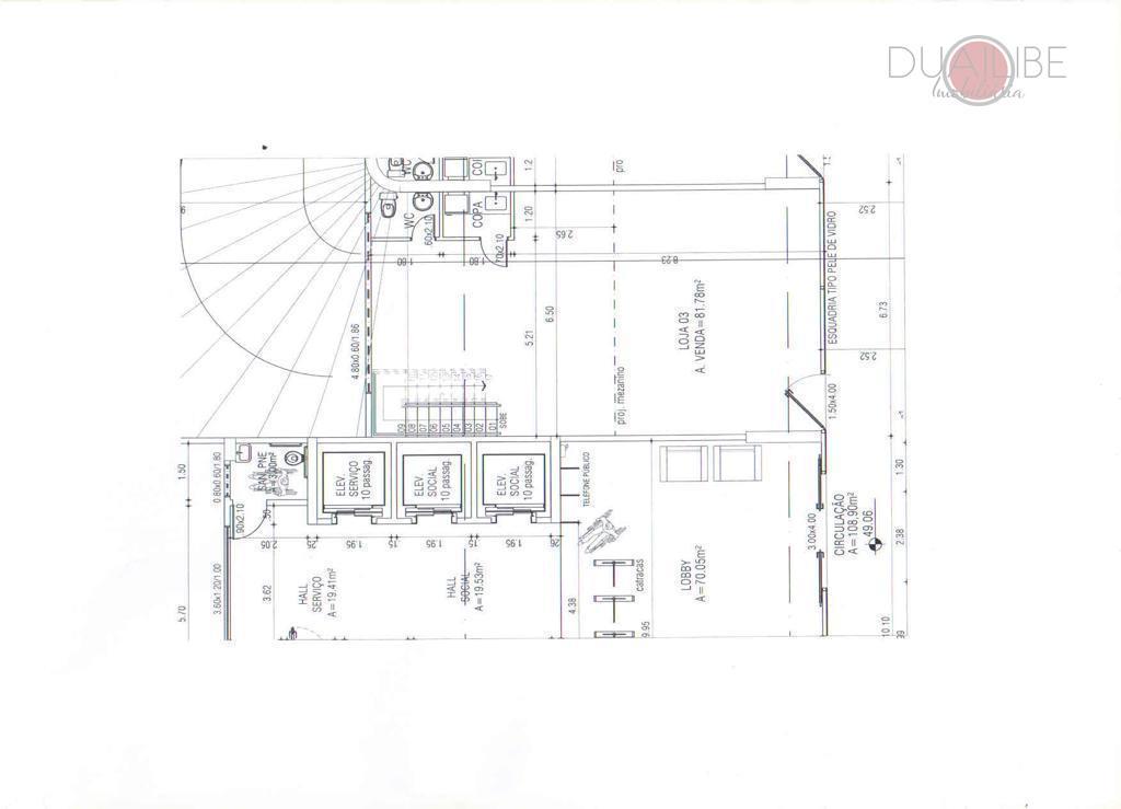 loja no ed michelangelo office , totalizando 115,89m². sendo 01 copa, 01 lavabo, 03 elevadores sendo...