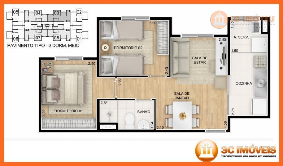 apartamento de 2 dorm, 1 vaga de auto com completa área de lazer:piscina adulta e infantilpraça...
