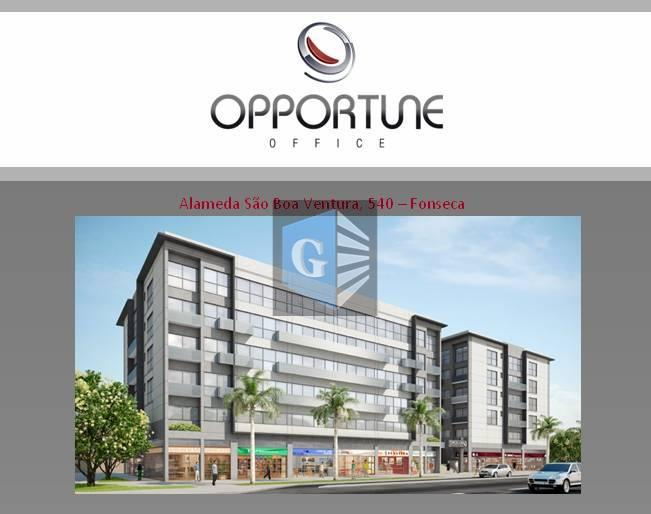 fonseca - sala comercial -ed.opportune offices - 1locação - vazia sala e banheiro social-(21m²)- fartíssima condução...