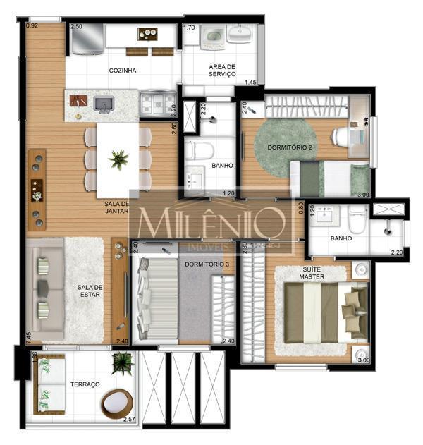 Apartamento de 3 dormitórios à venda em Portal Do Morumbi, São Paulo - SP