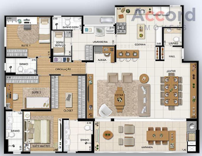 composto por:- 3 suítes- sala de estar, lavabo, sala de jantar e sacada gourmet com churrasqueira;-...
