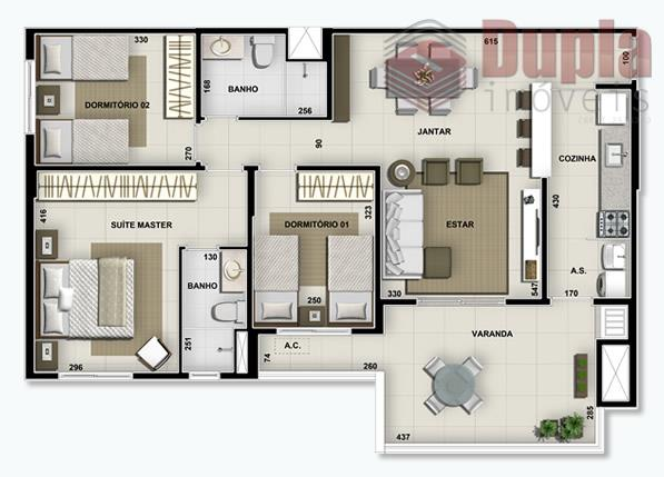 Apartamento residencial à venda no Condomínio Duetto Pérola em Birigüi/SP