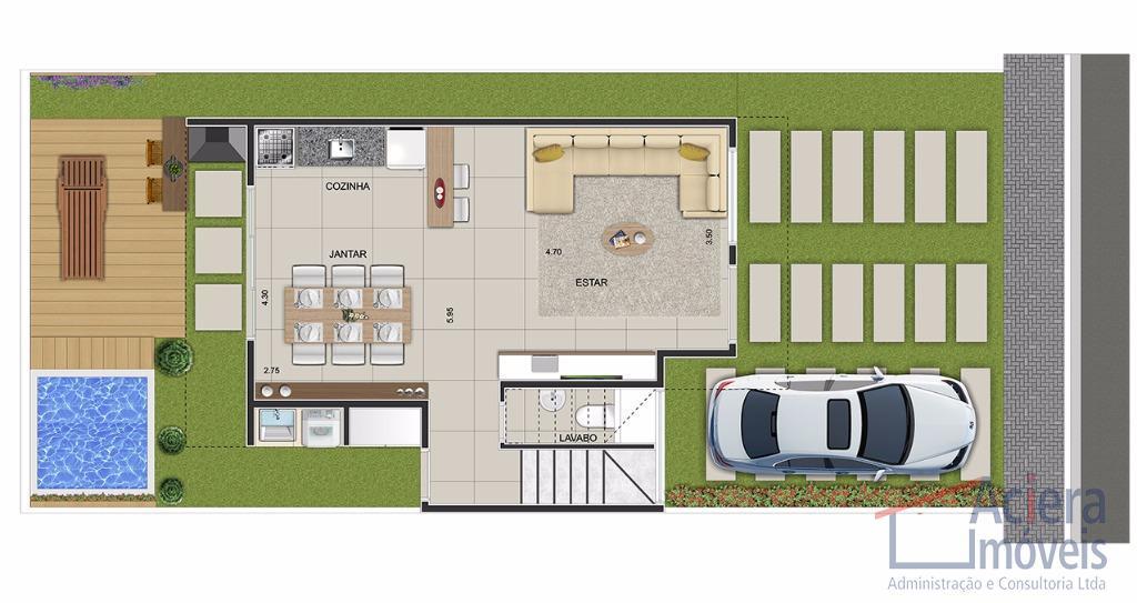 condomínio exclusivo com 3 opções de plantas diferenciadas, a ser definido pelo cliente.casa com 146,14 m²...