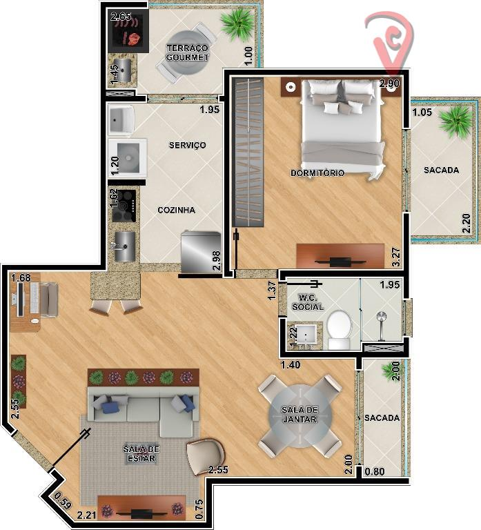 Apartamento  residencial 1 dorm., à venda, Bangu, Santo André.