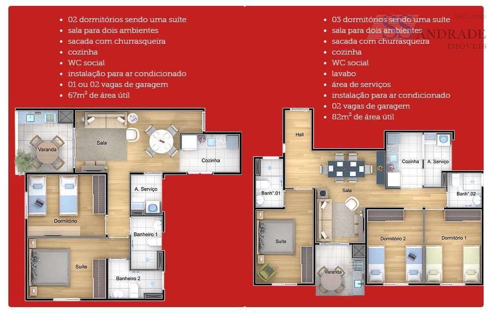 descriçãovalor á partir de r$ 353.000,00* unidades com 67m ² de área construída, possui 02 dorm...