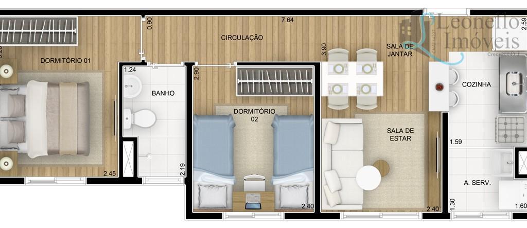 Apartamento residencial à venda, de 42m² e 2 dormitórios no Parque São Vicente, Mauá.