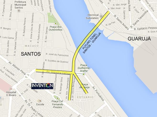 Mapa Túnel Santos - Guarujá