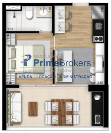 Studio de 1 dormitório em Brooklin Paulista, São Paulo - SP