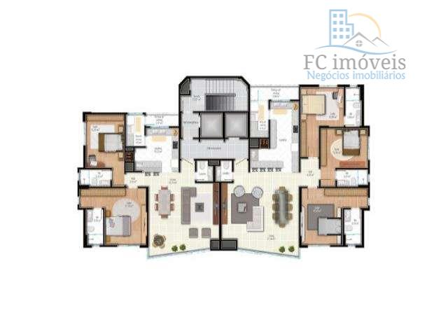 apartamento com 3 suítes, living com churrasqueira e cozinha integrados, lavabo, área de serviço e 3...
