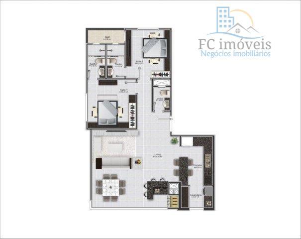 ref. 2047 - apartamento com 2 suítes, living com churrasqueira integrada, lavabo, cozinha, área de serviço...