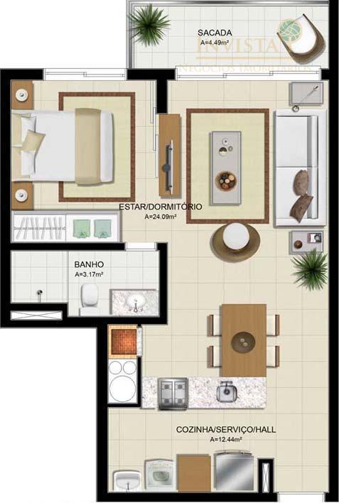 Apartamento de 1 dormitório em Barreiros, São José - SC