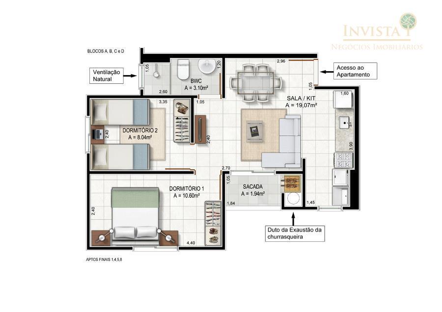 Apartamento de 2 dormitórios em Bela Vista, Palhoça - SC