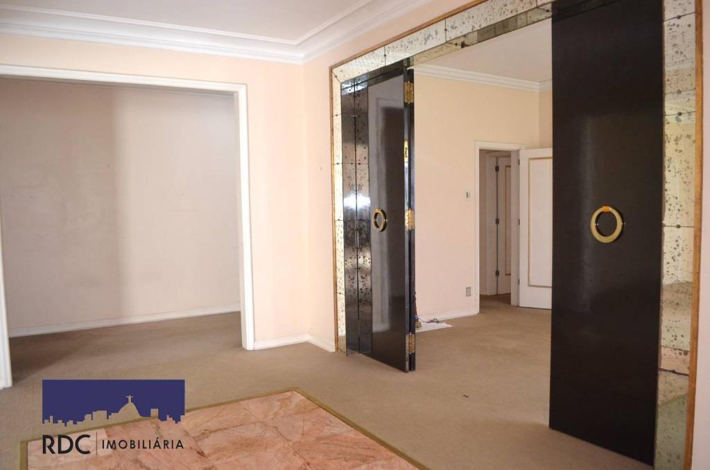 leopoldo miguez - apartamento único no andar com 240 m2, andar alto, silencioso, varanda fechada, sala...