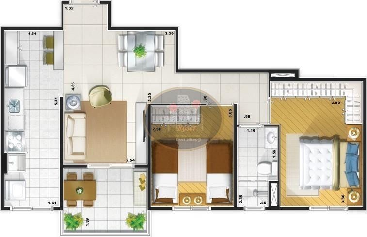 Apartamento de 2 dormitórios em Pompéia, Santos - SP
