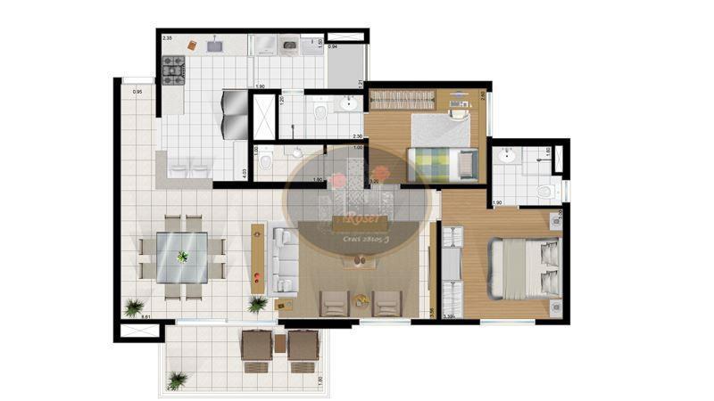 Apartamento de 2 dormitórios em Vila Belmiro, Santos - SP