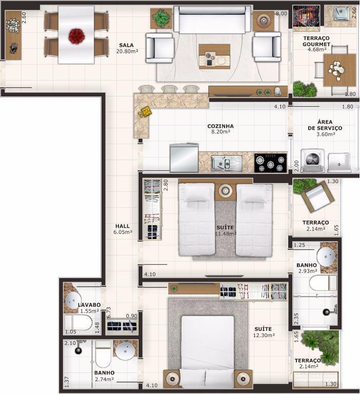 Apartamento de 3 dormitórios em Vila Guilhermina, Praia Grande - SP