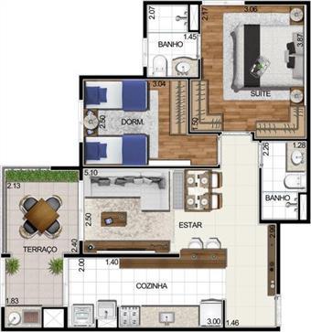 Apartamento de 2 dormitórios em Empresarial 18 Do Forte, Barueri - SP