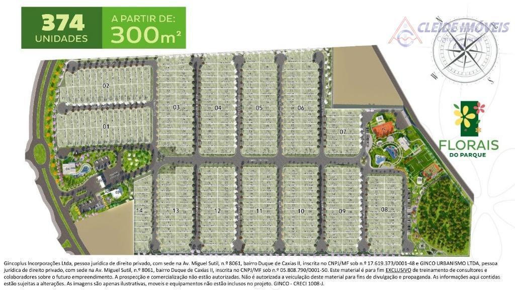 Terreno residencial à venda em Condomínio Fechado, Florais do Parque, Jardim Itália, Cuiabá-MT