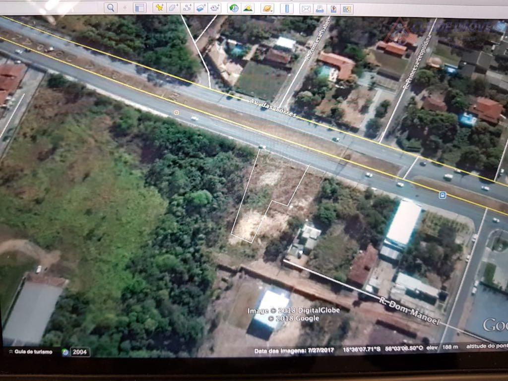 terreno com excelente localização e total de área de  1.560,00 metros   avenida das torres.