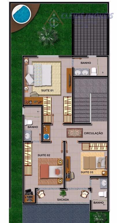 casa estilo sobrado, no condomínio pérola rara, sol da manhã, contendo 3 suítes, sala ampla para...