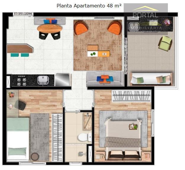 apartamentos de 01 e 02 dormitórios (suíte), com 35 e 48 m², lazer e segurança. próximo...