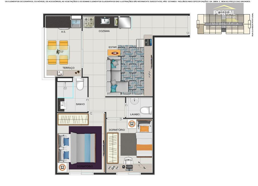 apartamento estilo smart home, 02 dorms, lavabo, terraço, coz. americana, sala 02 ambientes, lazer e serviços....