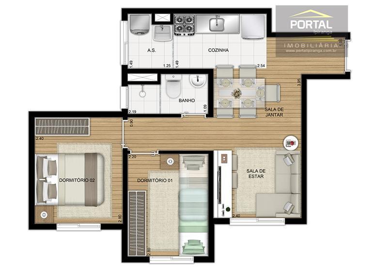 apartamento com 40m², 02 dormitórios e sem vaga. valor à partir de r$ 185.500,00 com entrada...