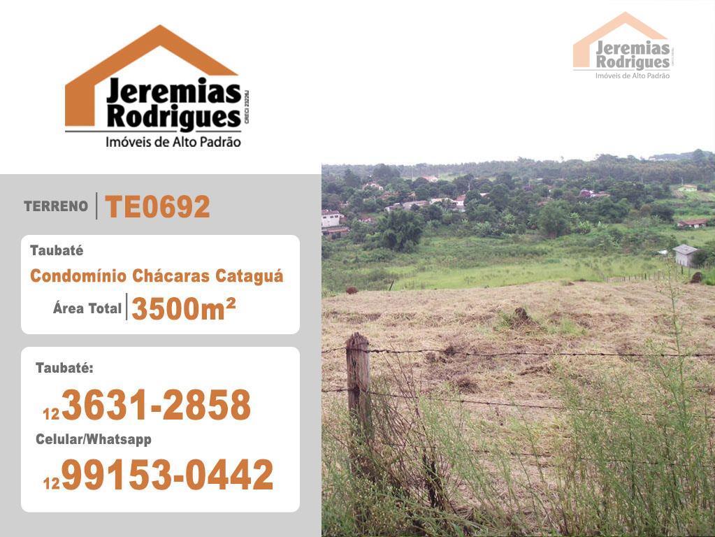 Terreno residencial à venda, Condomínio Chácaras Cataguá, Taubaté - TE0692.