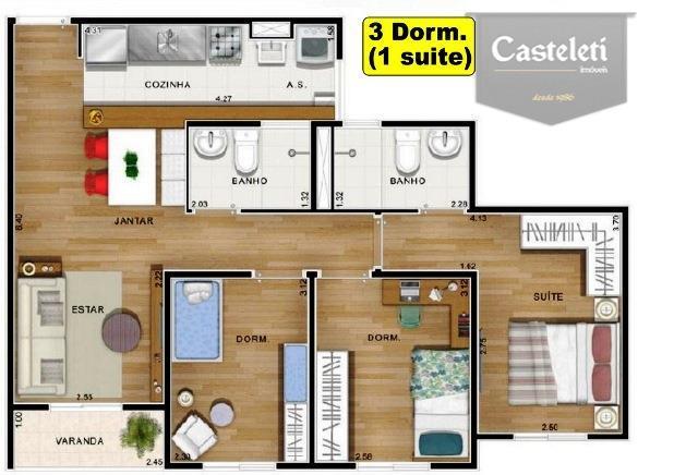 Apartamento de 3 dormitórios em Parque Jatobá (Nova Veneza), Sumaré - SP