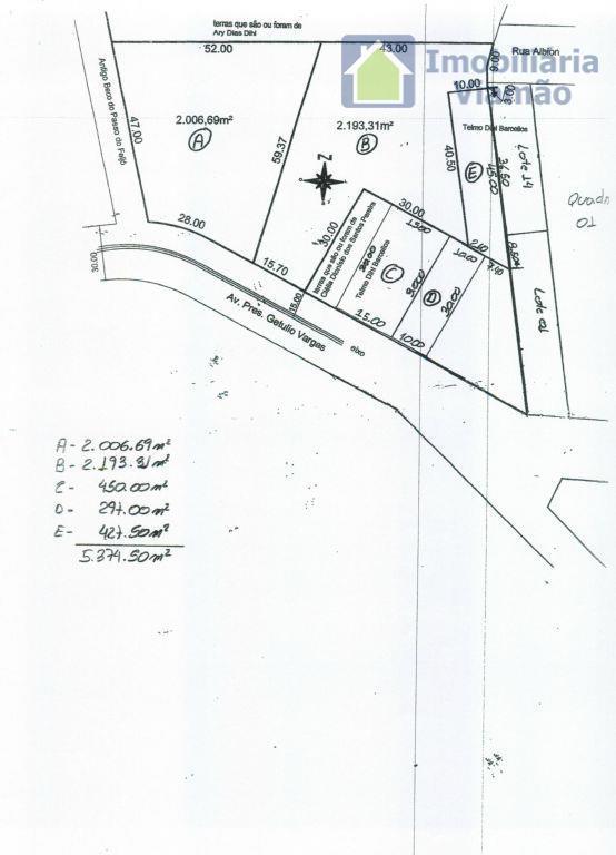 vende-se ótima área em alvorada rs c/3.350m² localização privilegiada na entrada da cidade, próximo ao big...