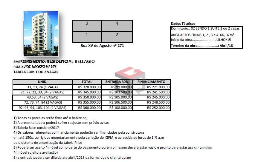 lançamento - centro - sbc 2 dormitórios, 1 suíte, sala 2 ambientes, varanda gourmet, 1 vaga,...