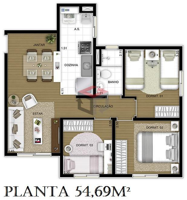 Apartamento de 3 dormitórios à venda em Vila Nogueira, Diadema - SP