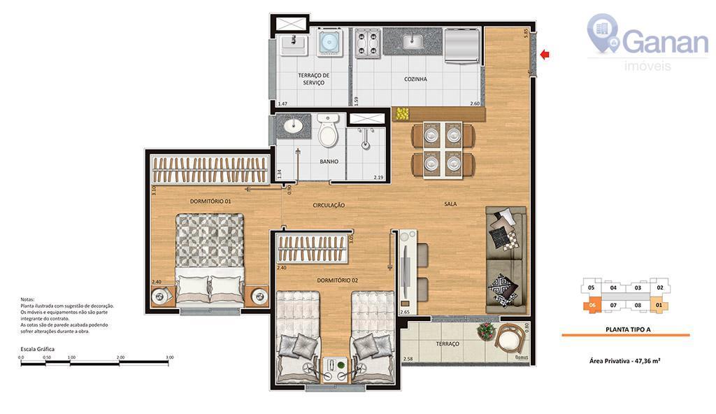 Apartamento com 2 dormitórios à venda, 48 m² por R$ 250.000 - Jardim América da Penha - São Paulo/SP
