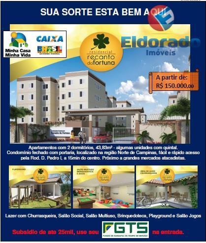 Apartamento  residencial à venda, Recanto Fortuna, Campinas.