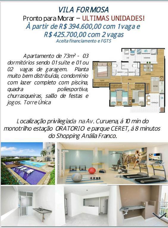 Apartamento residencial à venda, Chácara Belenzinho, São Paulo.