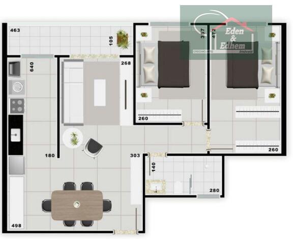 02 quartos, 1 wc social, sala com 02 ambientes, sacada e 01 vaga coberta. ótima oportunidade...