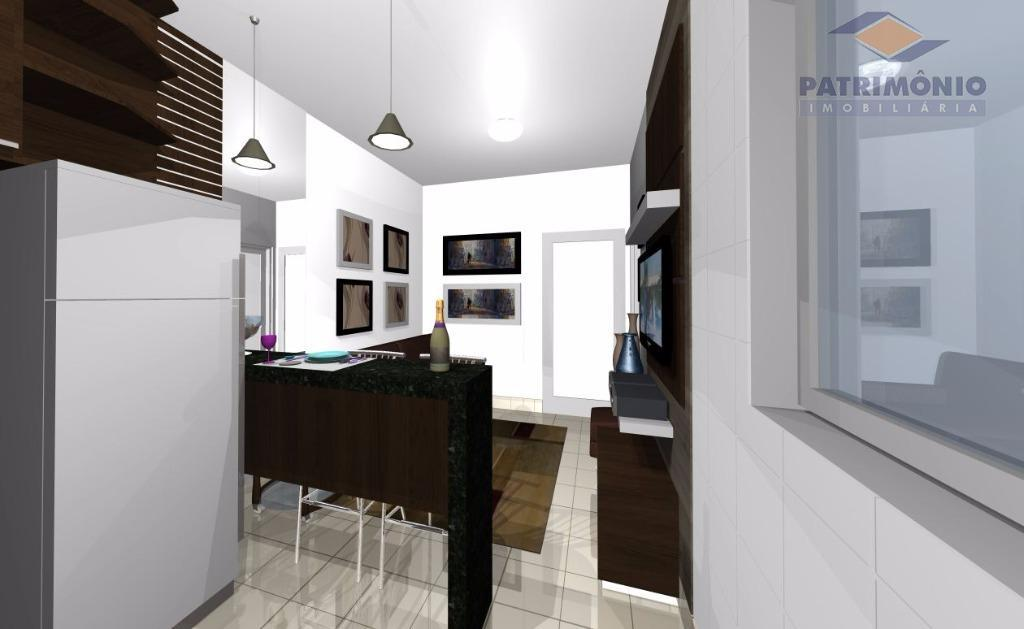excelente investimento - apto com uma suíte, sala, sacada, cozinha americana, área de serv., 1 gar....