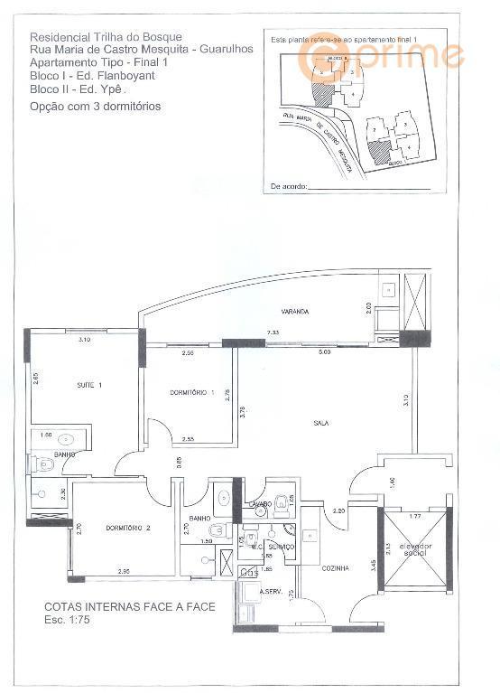 apto trilhas do bosquesão 92 m², 3 dormts sendo 2 suítes e 2 vagas. varanda fechada...