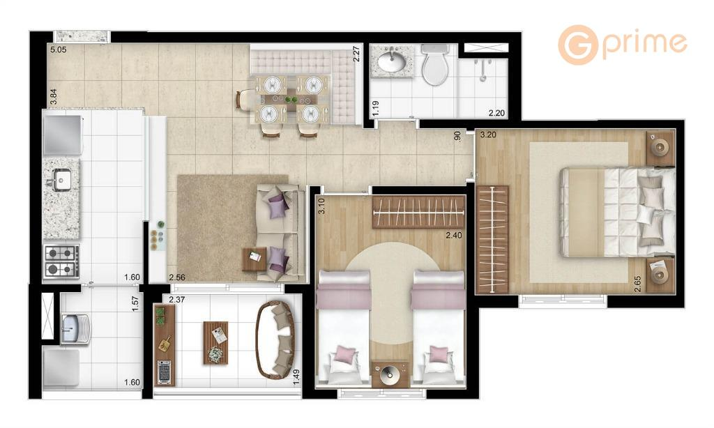 capital brásapto de 52,36 m², 2 dormts e 1 vaga. andar alto e está no contra...