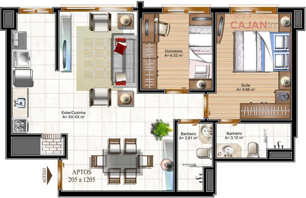 Apartamento 3 dormitórios com 1 vaga no bairro Cristo Redentor
