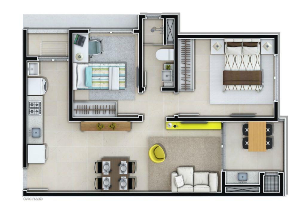 apto c/ 02 quartos, sala de estar/jantar, cozinha, sacada c/ churrasqueira, área de serviço. a/p 61m²