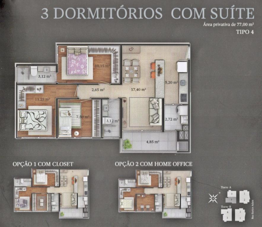 apto c/ 01 suíte, 02 quartos, living, wc social, cozinha, área de serviço, vaga dupla, a/p...