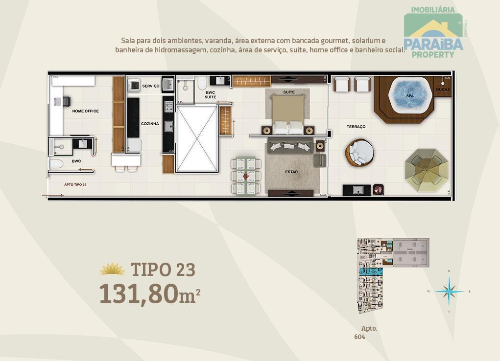 oportunidade beiramar!apartamento tipo loft mobiliado - show!o mais novo empreendimento na orla de tambaú, apartamento com...