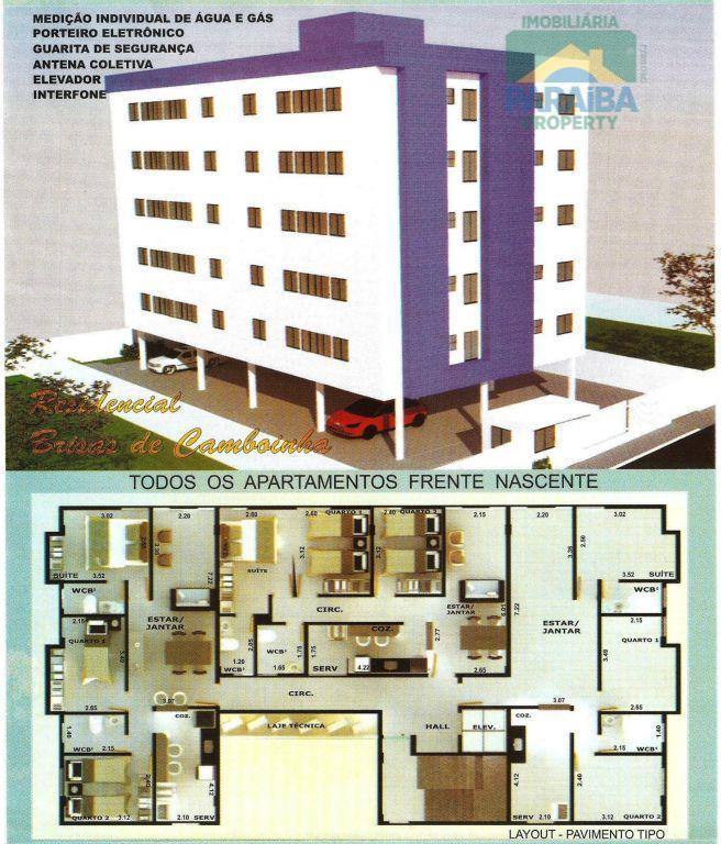 Apartamento residencial à venda, Camboinha, Cabedelo - AP0158.