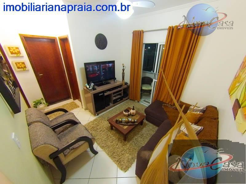 Apartamento 2 dormitórios com sacada, Praia do Agenor de Campos, Mongaguá.