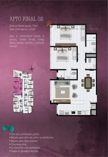 apartamento em torres de frente com 2 dormitórios, 2 suítes, living 2 ambientes, cozinha americana, churrasqueira...