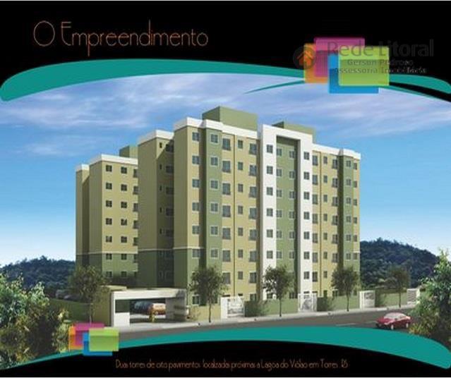 apartamento em torres de 2 dormitórios, living 2 ambientes, banho social, churrasqueira integrada, 1 box para...